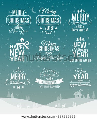 Vintage Merry Christmas And Happy New Year Calligraphic And Typographic Labels Set - stock vector