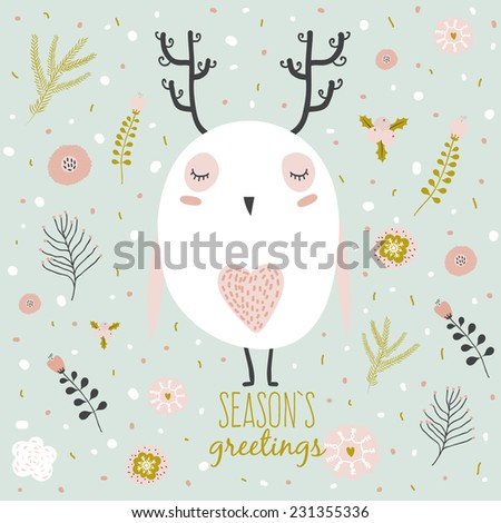 Vintage Merry Christmas And Happy New Year card with flowers and winter owl with horn. Greeting stylish illustration of winter romantic flowers, berries, leaf, wreath, laurel. Good for cards, posters - stock vector