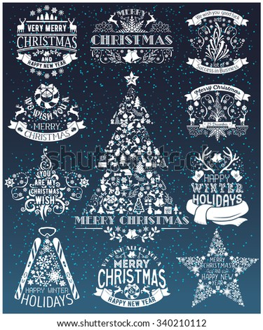 Vintage Merry Christmas And Happy New Year collection of calligraphic and typographic design with labels, symbols and icons elements. Happy Winter Holidays - stock vector