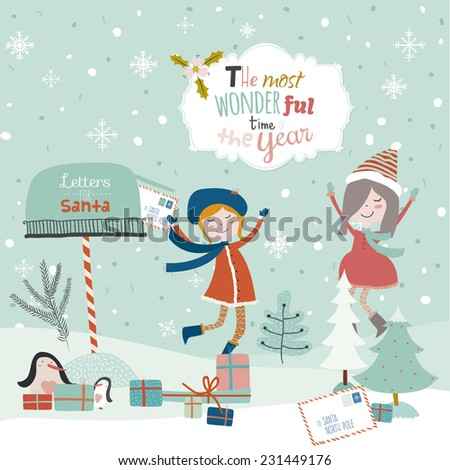 Vintage Merry Christmas And Happy New Year illustration with happy smiling girls. Greeting stylish calligraphic and typographic wishes. Santa Claus, mailbox, owl, letter, penguins, mailbox, presents - stock vector