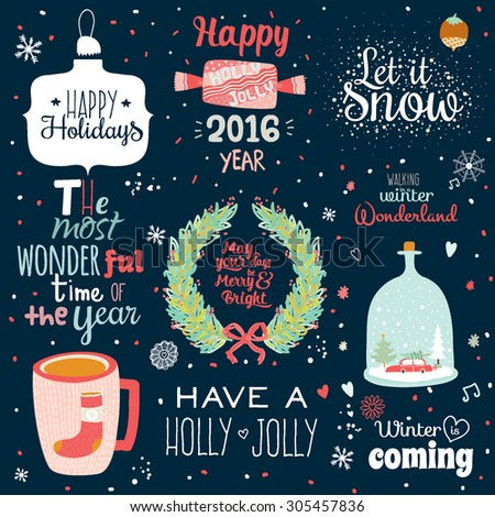 Vintage Merry Christmas And Happy New Year Set of Wreathes with Calligraphic And Typographic Wishes and Winter Holiday Elements on Black Background. Greeting hand drawn illustration for Xmas. - stock vector