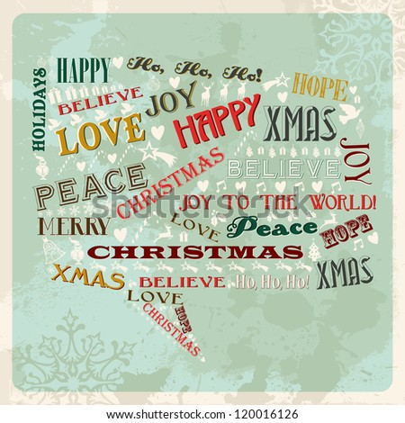 Vintage Merry Christmas concept words and icons in social bubble shape. Vector illustration layered for easy manipulation and custom coloring. - stock vector