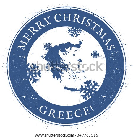Vintage Merry Christmas Greece Stamp. Stylised rubber stamp with map of Greece and Merry Christmas text, vector illustration
