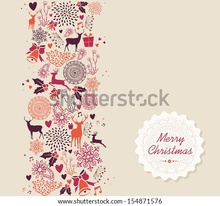 Vintage Merry Christmas text, reindeer and circle elements seamless pattern background. EPS10 vector file organized in layers for easy editing.  - stock vector