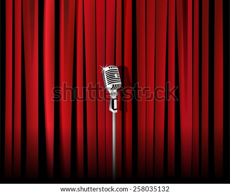 Vintage metal microphone against red curtain backdrop. mic on empty theatre stage, vector art image illustration. stand up comedian night show or karaoke party background. realistic retro design eps10 - stock vector