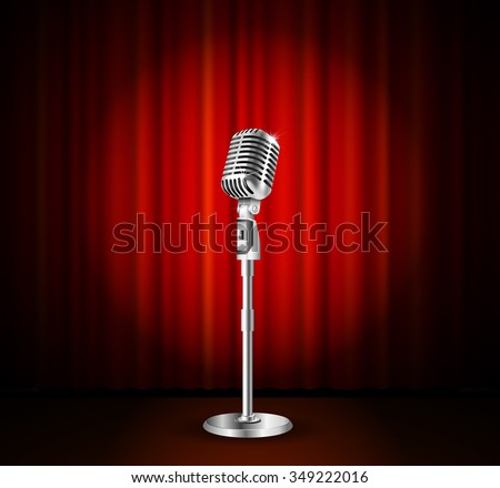 Vintage metal microphone against red curtain backdrop. mic on empty theatre stage, vector art image illustration. stand up comedian night show or karaoke party background. retro design  - stock vector