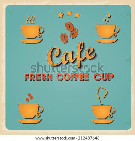 Vintage metal Retro type font Fresh Coffee cup icon sign. Vector EPS10. Grunge effects vector design - stock vector