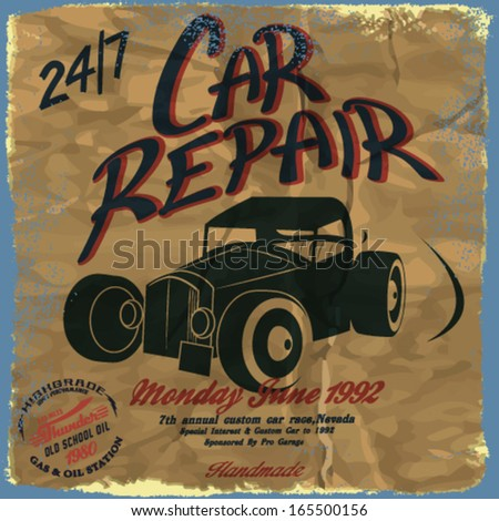 Vintage metal sign - Classic Garage -  Grunge effects can be easily removed for a brand new, clean sign. - stock vector
