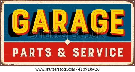 Vintage metal sign - Garage Parts & Service - Vector EPS10. Grunge and rusty effects can be easily removed for a cleaner look. - stock vector