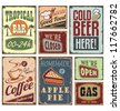 Vintage metal style signs. Retro posters vector collection. - stock vector