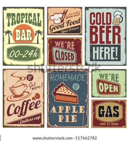 Vintage metal style signs. Retro posters vector collection.