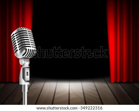Vintage Microphone and red curtain realistic background as stage symbol vector illustration. Musical, stand up comedian night show or karaoke party background with text space. retro design - stock vector
