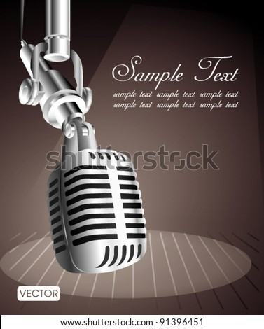 vintage microphone on stage - stock vector