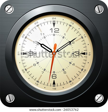 Vintage military airplane clock - stock vector