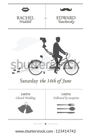 Vintage minimalistic wedding invitation with bride and groom riding tandem bicycle dragging cans - stock vector