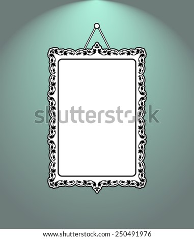 Vintage mirror frame. Hanging on the wall. Rich old frame. Silhouette of baroque mirror - stock vector