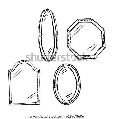 Vintage Mirrors Doodle Style Furniture Interior Design Elements Hand Drawn Charcoal Sketch
