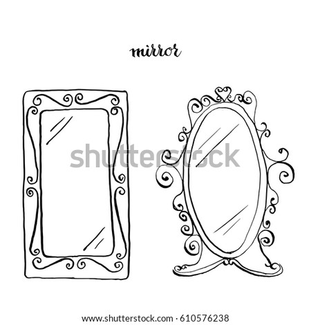 Vintage Mirrors Furniture Interior Design Elements Hand Drawn Ink Sketch Illustration Isolated