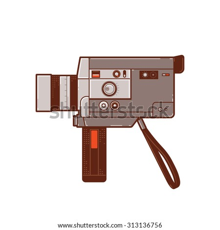 Vintage 8mm movie cameras. Hand camera to record moving images or video. This camera is popular in the past. - stock vector