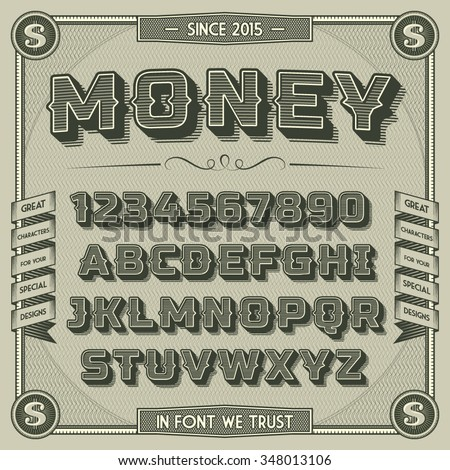 Vintage Money Font with shadow. Retro 3D Alphabet with decorative elements - stock vector