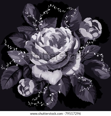 Vintage monochrome rose with leaves on black background - stock vector