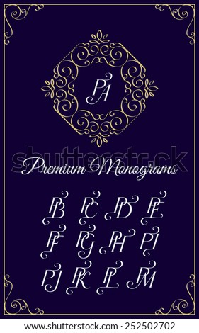 Vintage monogram design template with combinations of capital letters PA PB PC PD PE PF PG PH PI PJ PK PL PM. Vector illustration. - stock vector