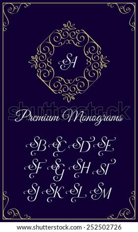 Vintage monogram design template with combinations of capital letters SA SB SC SD SE SF SG SH SI SJ SK SL SM. Vector illustration. - stock vector