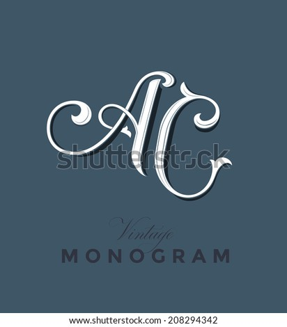 Vintage Monogram Emblem with Letters A and C  - stock vector