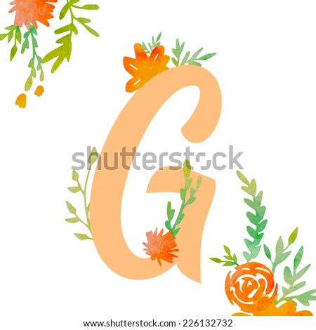 Vintage monogram G with watercolor flowers and leaves. Part of natural romantic alphabet.  - stock vector