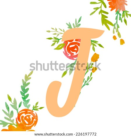 Vintage monogram J with decorative watercolor floral elements, roses and natural frame. Hand drawn vector alphabet part.  - stock vector