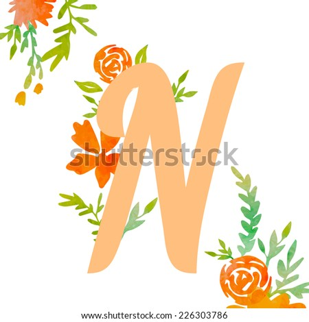 Vintage monogram N with decorative watercolor floral elements, roses and natural frame. Hand drawn vector alphabet part.  - stock vector