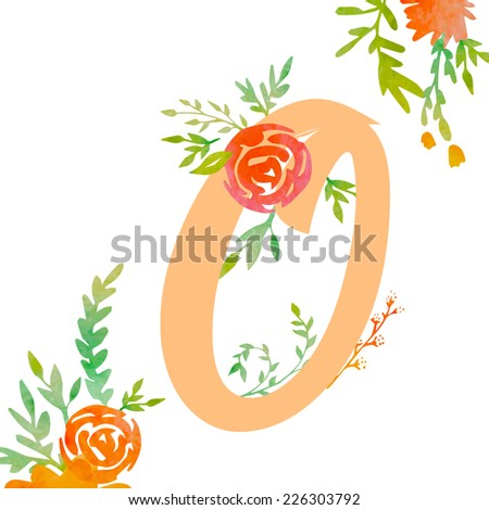 Vintage monogram O with decorative watercolor floral elements, roses and natural frame. Hand drawn vector alphabet part.  - stock vector