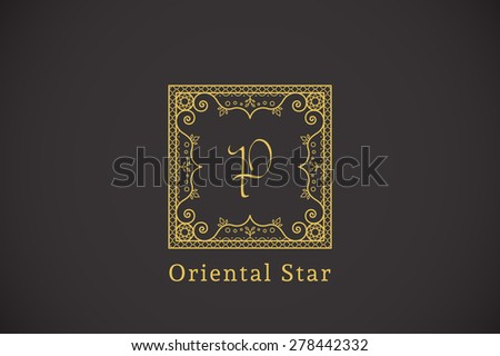 Vintage monogram. Vector frame for calligraphic luxury logos and retro ornamental design. - stock vector