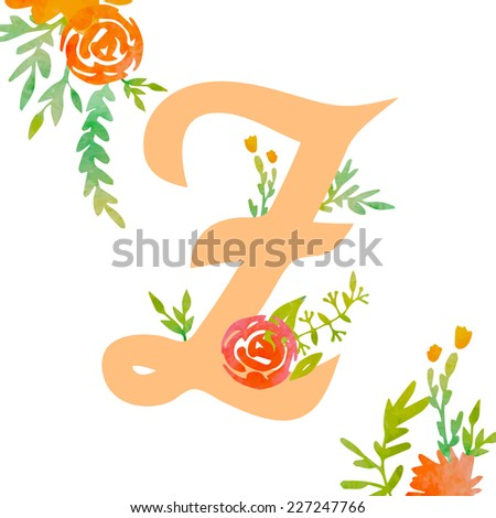 Vintage monogram Z with decorative watercolor floral elements, roses and natural frame. Hand drawn vector alphabet part.  - stock vector