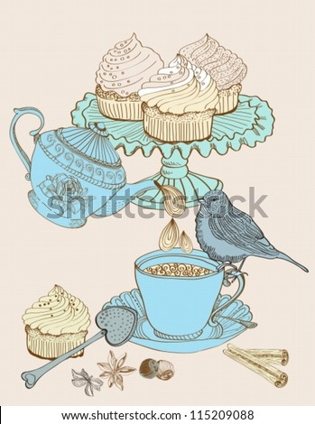 vintage morning tea background. Illustration for design,vector