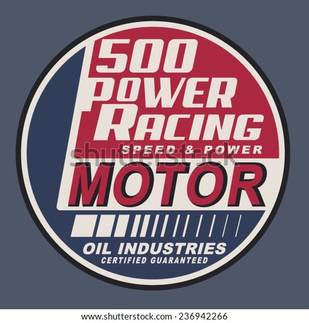 Vintage motor racing typography, t-shirt graphics, vectors