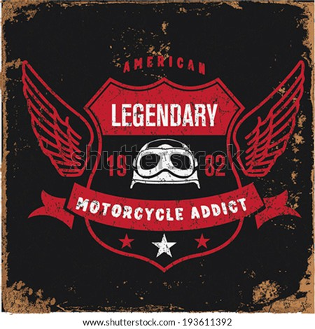 Vintage Motorbike Race | Hand drawing | T-shirt Printing | Badge Applique Label  - stock vector