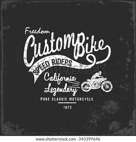 Vintage Motorbike Race   Hand drawing   T-shirt Printing   Badge Applique Label - stock vector