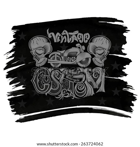 vintage motorcycle background with skull custom vintage text on black flag with stars - stock vector