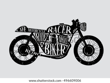 Vintage Motorcycle Cafe Racer text on bike. Vector illustration