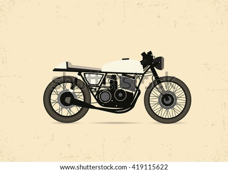 Vintage Motorcycle Cafe Racer. vector illustration - stock vector