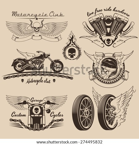 Vintage motorcycle labels and design elements - stock vector