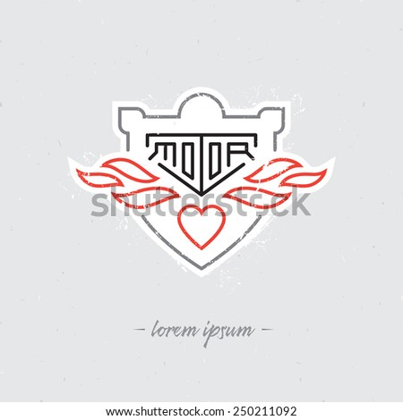 Vintage motorcycle labels, badge, shield or design elements. Vector illustration with inscription Motor, fire and heart - stock vector