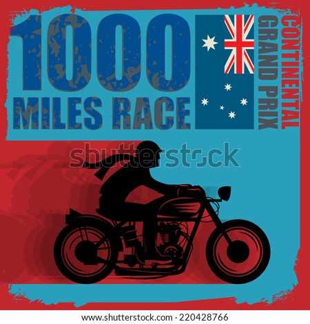 Vintage Motorcycle race label, vector illustration - stock vector