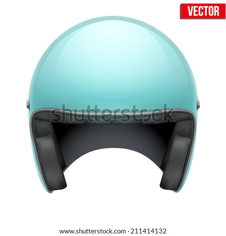Vintage motorcycle scooter blue helmet. Vector Illustration isolated on white background. - stock vector