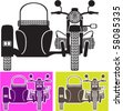 Vintage motorcycle with Side Car - stock vector