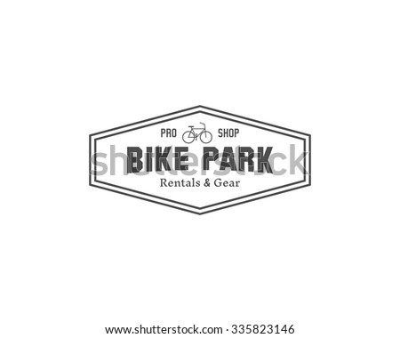 Vintage mountain bike shop park camping badge, outdoor logo, emblem and label concept for web, print. Retro stylish monochrome design. Best for emblem. Easy to change color. Vector illustration - stock vector