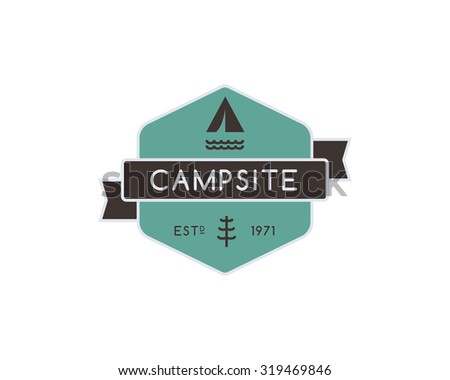 Vintage mountain camping badge, outdoor logo, emblem and label. Forest camp concept, color design. Best for travel sites, adventure magazines. Easy to change color. Vector illustration - stock vector