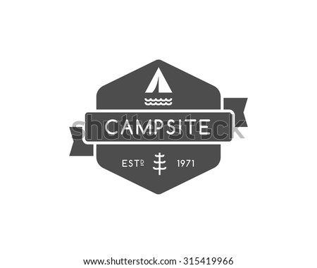 Vintage mountain camping badge, outdoor logo, emblem and label. Hiking, climbing concept, monochrome design. Best for travel sites, adventure magazines. Easy to change color. Vector illustration - stock vector