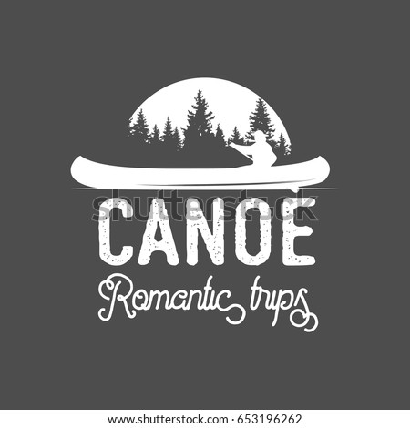 vintage mountain, rafting, kayaking, paddling, canoeing camp logo, label, badge. Stylish Monochrome design. Outdoor activity theme. Summer and winter vacation insignias